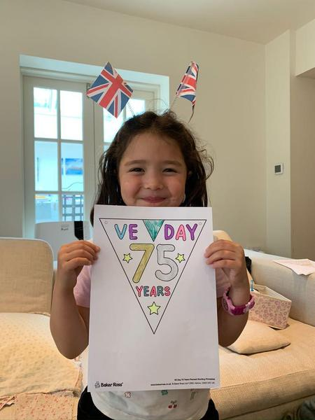 Alice created VE Day bunting.