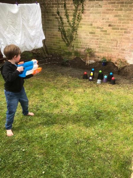 Indie doing target practice!