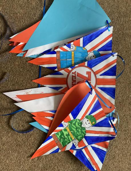 Oscar's homemade VE Day bunting!