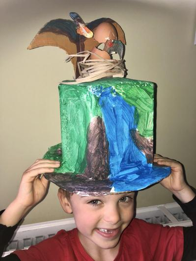 Dinosaur bonnet and scene combined by Bradley