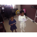 Ohemaa (Year 1) playing teacher to her sister