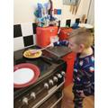 Jack flipping his pancake!