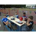 Year 5 boys enjoying lunch