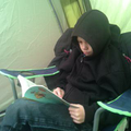 Josh (Year 5) reading in his tent