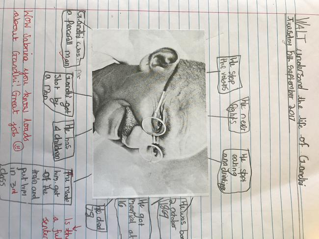 Sabrina's fantastic work beginning to understand The Life of Gandhi.