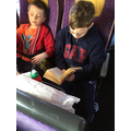 Dafydd (Year 5) on the bus home from France.