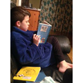 Josh (Year 5) caught reading before bedtime.