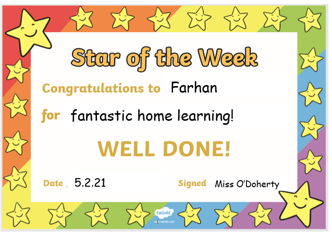Well done for brilliant learning this week Farhan! I'm proud of you!