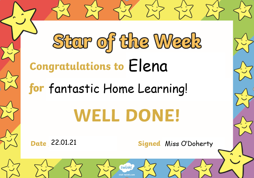 Elena, you've done brilliant work everyday this week, Well done!