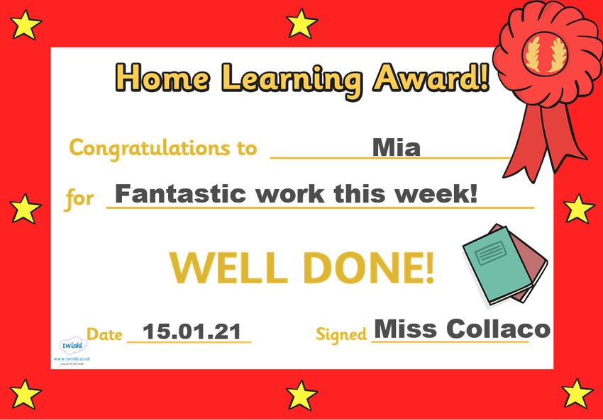 Well done to Mia for being my first Star of the Week! You have worked so hard this week!