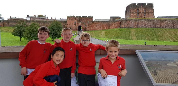 Enjoying the view of Carlisle Castle.