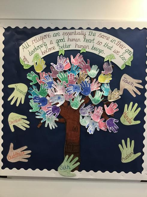 Some of the children in our school helped create our RE tree using handprints.