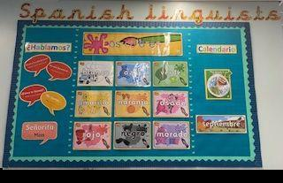 Our Spanish display is updated every term with new words and phrases that we've learned.