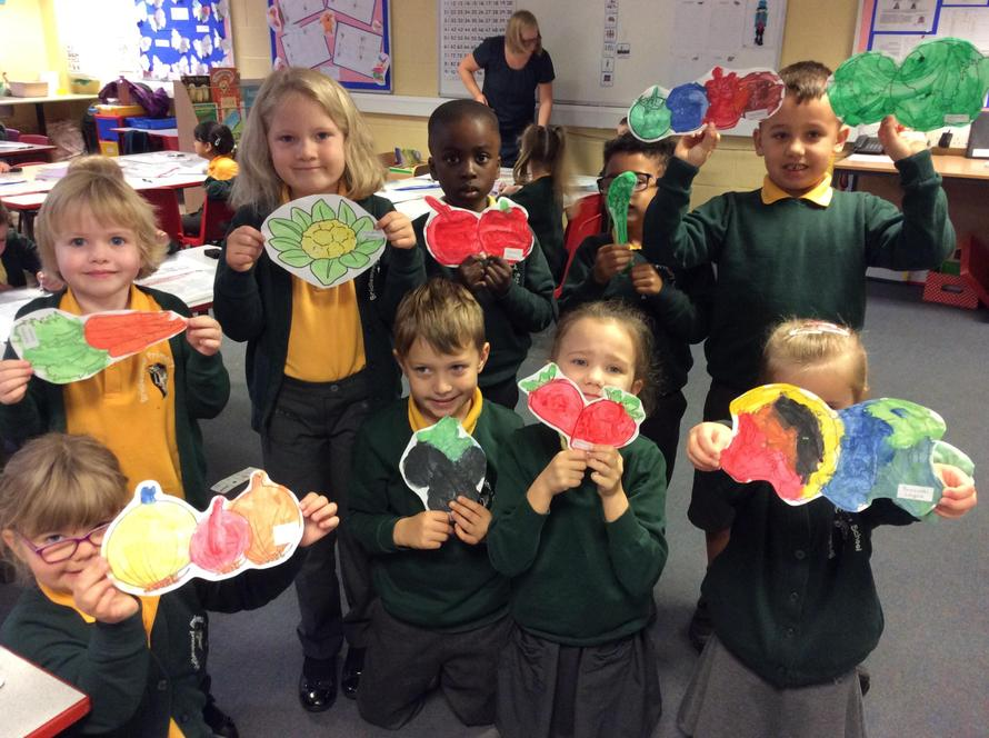 Pine class painted vegetables