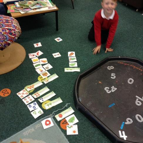 Sequencing the 'hungry caterpillar' story.