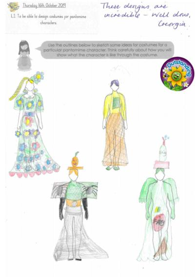 Designing costumes for the pantomime... Year 4