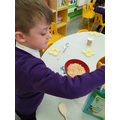 Measuring and weighing out the ingredients.