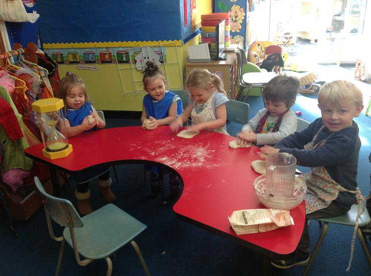 Kneading by hand the children have great fun