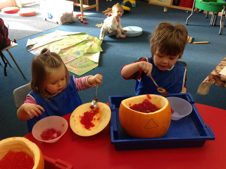 The children enjoy spooning the jelly in and out