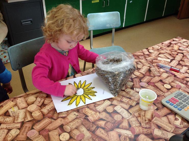 Imogen makes her sunflower