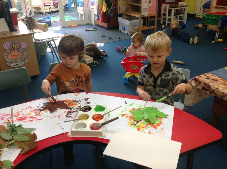 After gathering the leaves we paint them