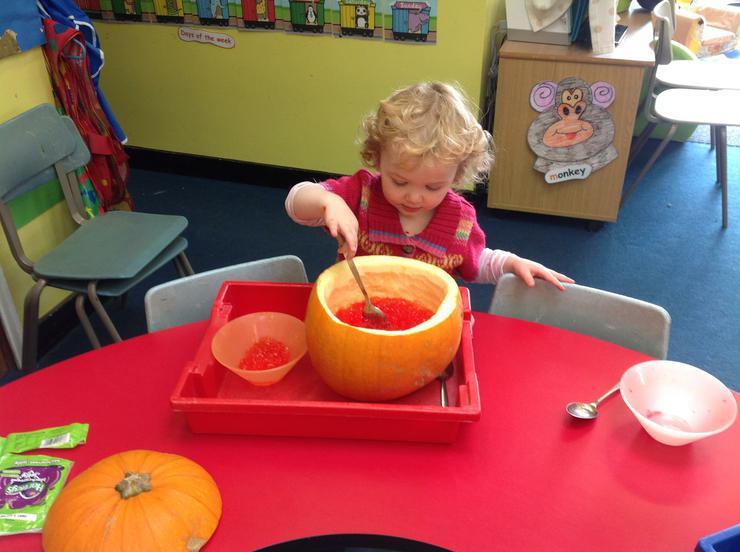 Imogen loves the orange coloured jelly