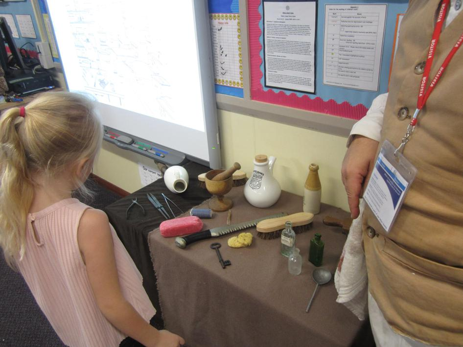 Looking at the artefacts.