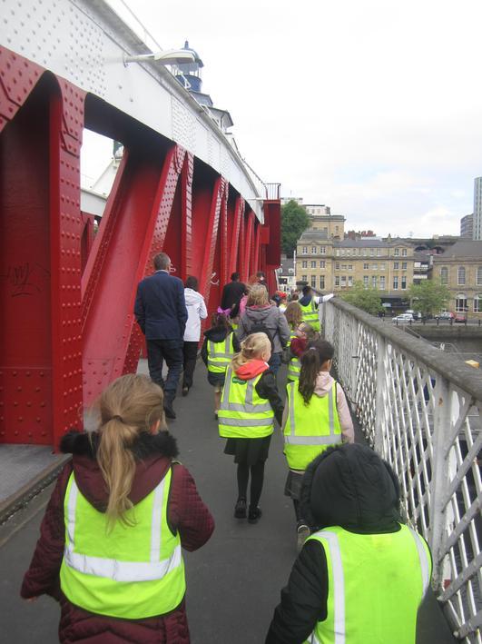 We walked across the swing bridge to Newcastle.
