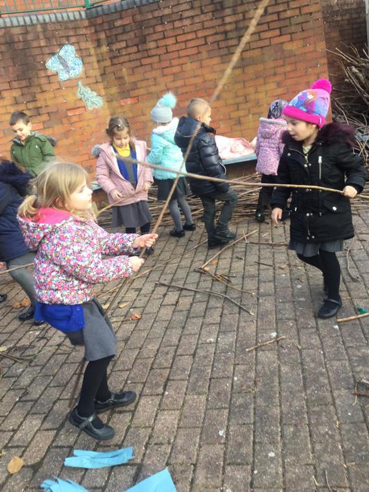 We collected sticks to make broom sticks.