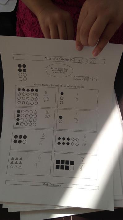 Angel has been working on fractions.