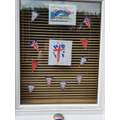Lincoln has decorated his window.