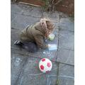 Eva being creative with chalks