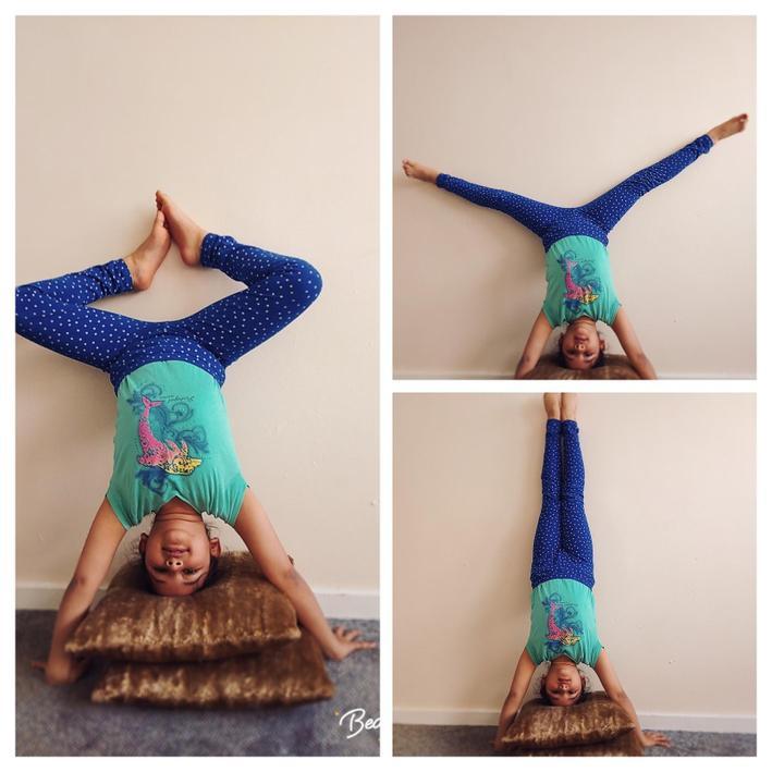 Angel demonstrating her gymnastic skills.