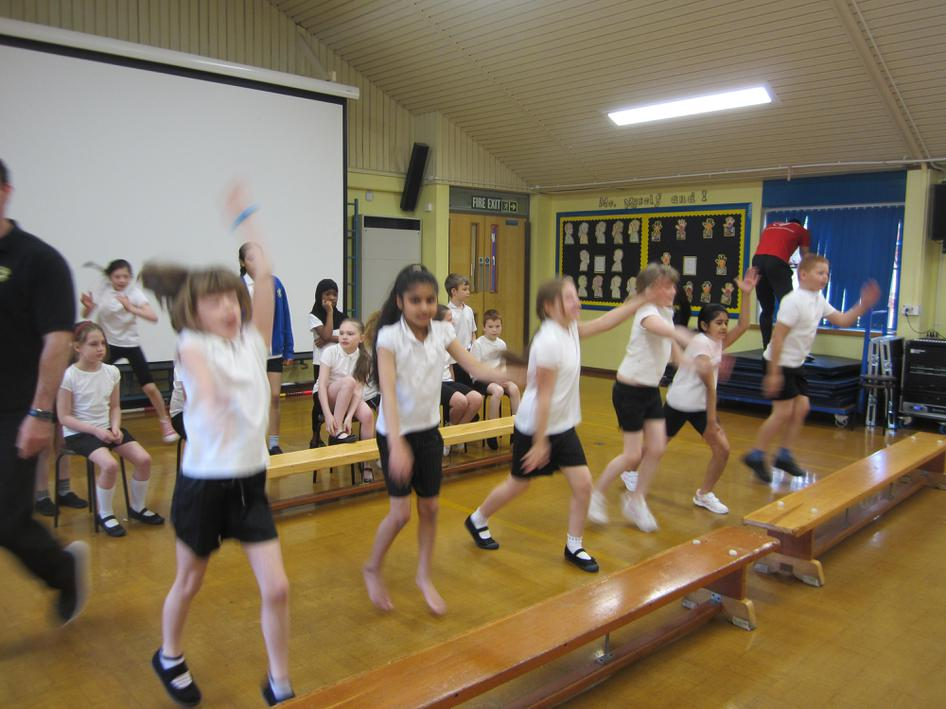 KS2 beat the heat in the hall.