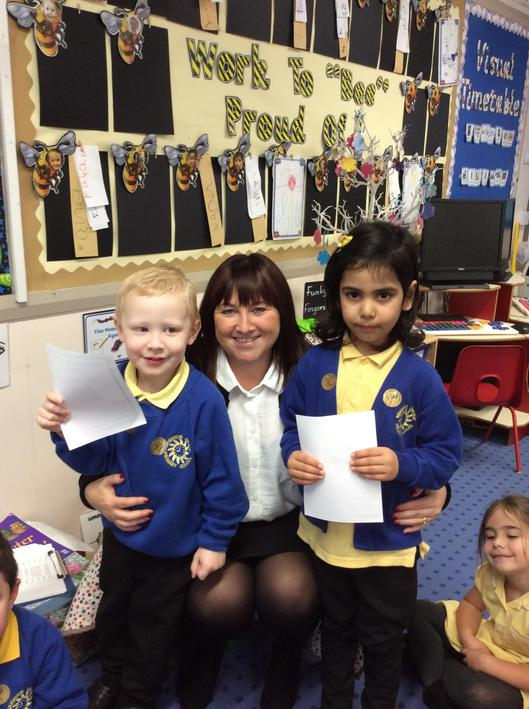 Well done to our first pupils of the week in Reception F. Well done. We are so proud.