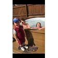 Corey-Lee enjoying the nice weather in the hot tub