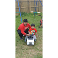 Arman and nephew taking the Rolls out.