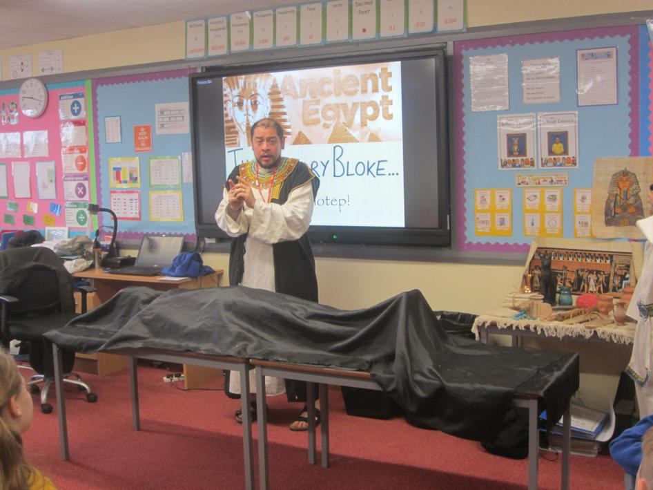 Richard explaining all about embalming.