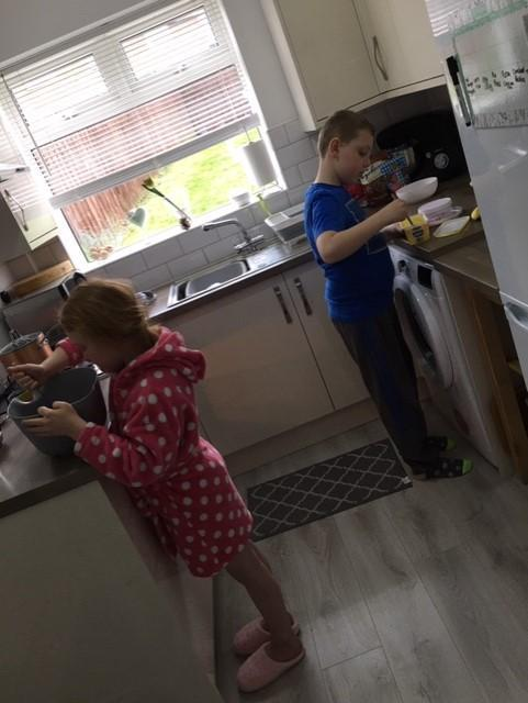 Darcy making bread as part of DT.