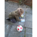 Eva getting creative with the chalks
