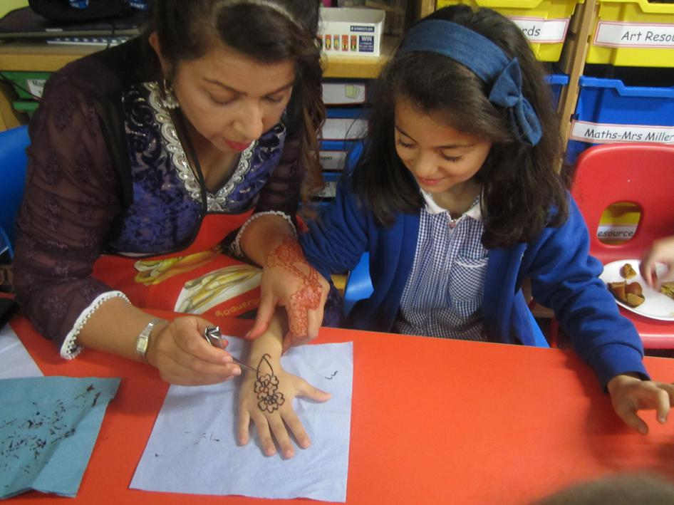 We had Mehndi (henna) designs on our hands.