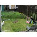 Doing a bit of gardening.