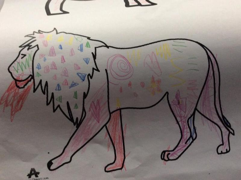 Fill animal outlines with patterns.