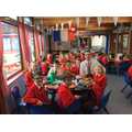 The school Council having a meeting at lunch