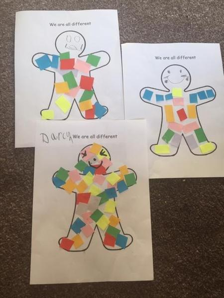 Use coloured paper to make a person collage.
