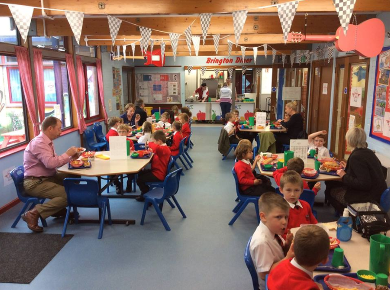 Governors enjoying lunch with the children