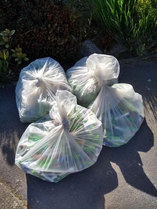 4 bags of plastic ready to be recycled