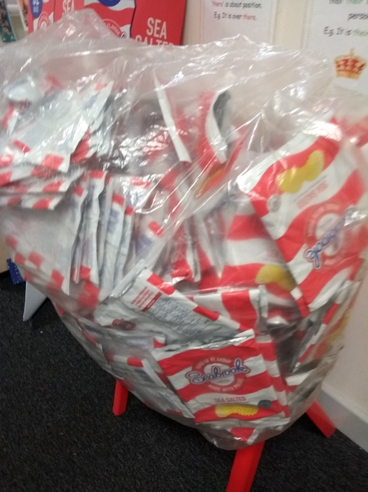 Crisp packets collected after the Christmas party