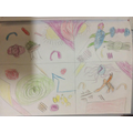 Year 2 - Drawing designs inspired by John Dyer, linked to their theme of Rainforests