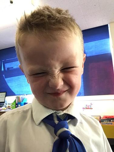 The children then practised making faces for the different emotions in the story.